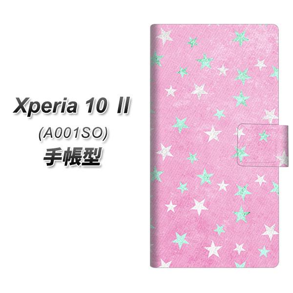 メール便送料無料 Y!mobile Xperia 10 II A001SO 手帳型スマホケース 【 SC889 お星さまキラキラ ピンク UV印刷】横開き (エクスペリア1